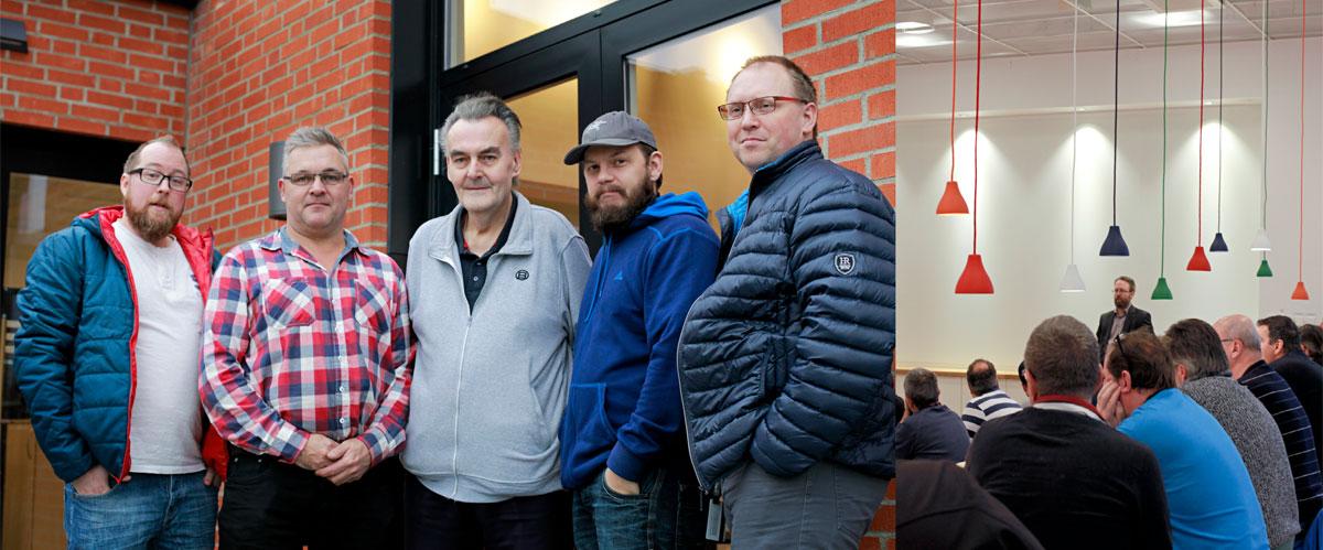"""Efter informationsmötet den 16 november hade Conny Dahlman, Mikael Ekvall, Hans-Erik Håkansson, John Persson och Roger Karlsson fortfarande många frågor, men förhandlingarna var inte klara. Hans-Erik Håkansson (i mitten) har jobbat på Tetra Pak i 45 år. """"Jag har trivts och det har varit en bra arbetsplats. Jag trodde aldrig att det här skulle hända."""" Foto: MARIE EDHOLM"""