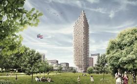 En skiss på det 34 våningar höga trähuset som vann HSB:s tävling.
