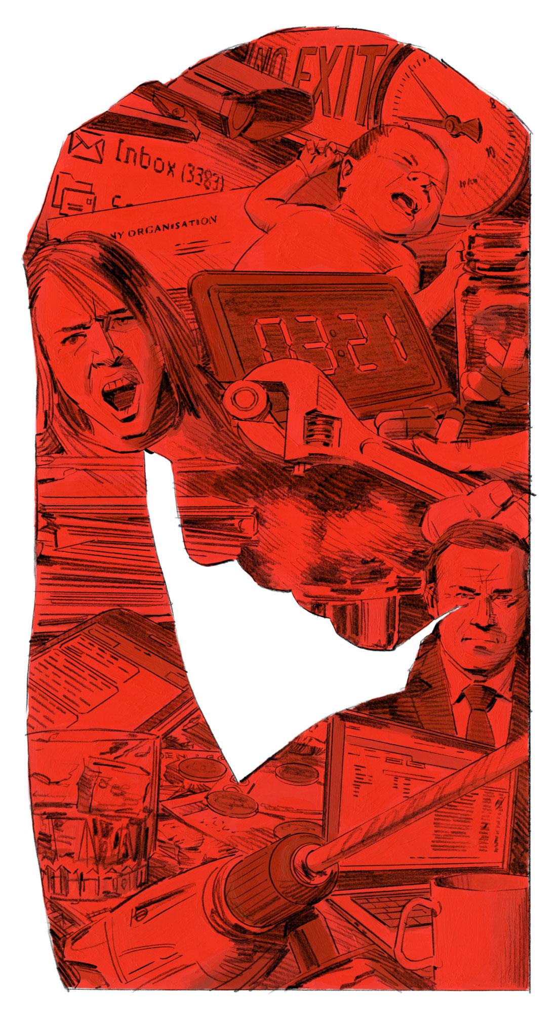 49 av 65 huvudskyddsombud i Dagens Arbetes undersökning tycker att stressen har ökat de senaste åren. illustration: Graham Samuels