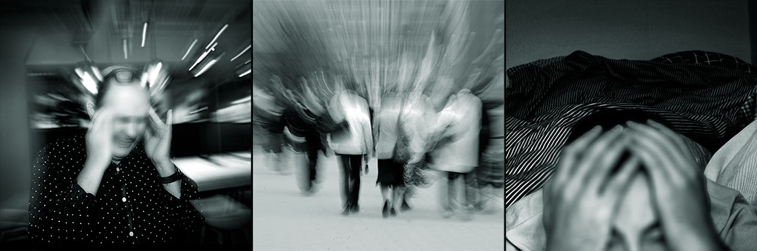 Bilder av stress, oro och mobbning på arbetsplatsern.