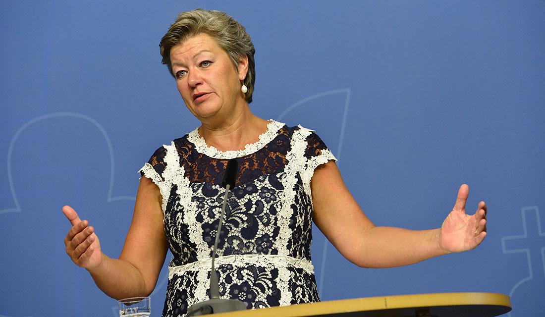 Ylva Johansson från en pressträff i Rosenbad på tisdagen. Foto: TT