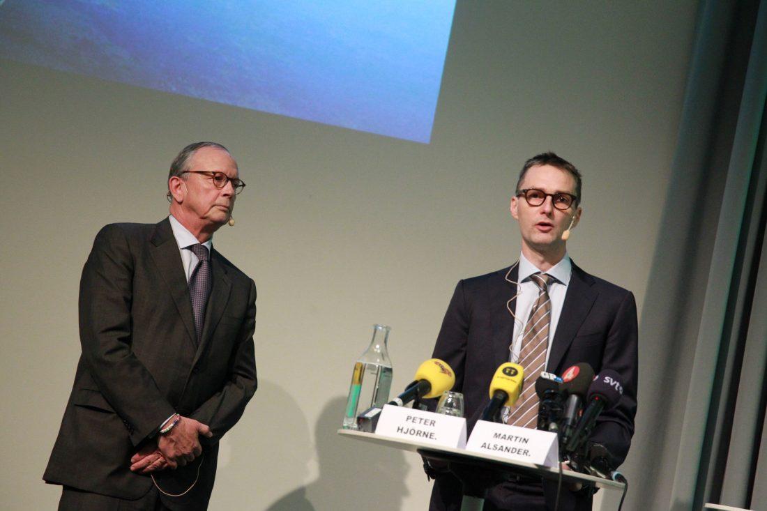 Stampens styrelseordförande och huvudägare Peter Hjörne och koncernchef Martin Alsander . Foto: Frida Winter / TT