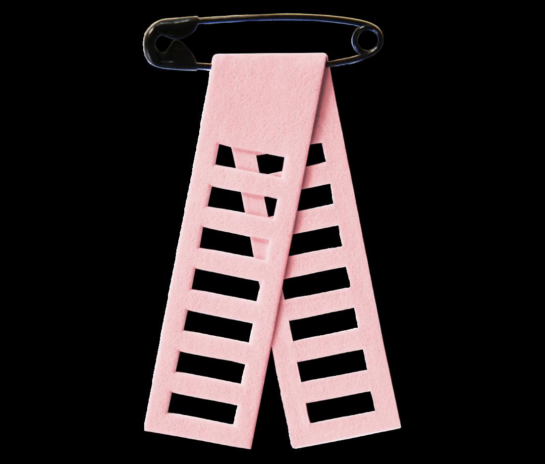 Cancerfondens rosa band är i år designat av Bea Szenfeld. Det är format som en stege och är givetvis tillverkat av slitstarkt papper.