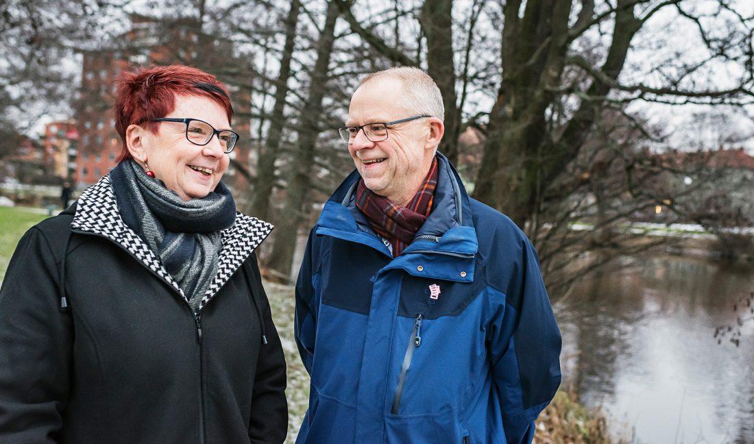 Syskonen Marie Olsson och Peter Huss.