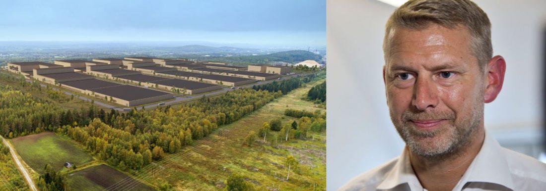 Northvolts tänkta batterifabrik och dess vd Peter Carlsson.
