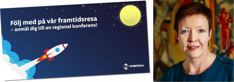 IF Metalls bild av framtidsresan samt foto på förbundssekreterare Anna Jensen Naatikka.