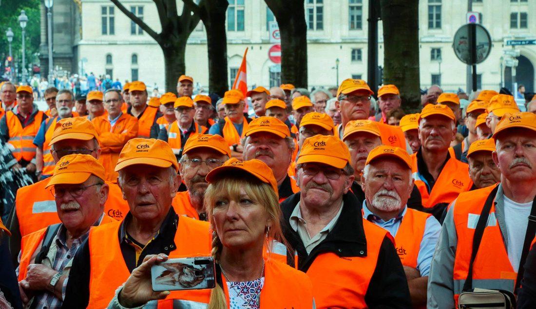 Franska gruvarbetare demonstrerar