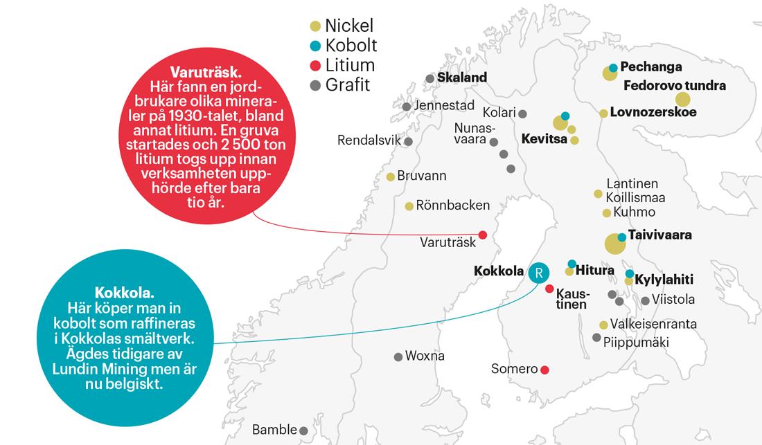 Karta över mineralfyndigheterna Northvolt är intresserade av