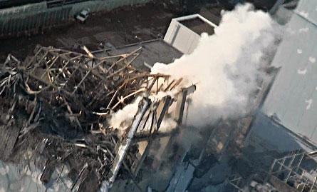 Den förstörda reaktorn Fukushima 3 på en bild från Tokyos energibolag. Foto: AP/KYODO NEWS