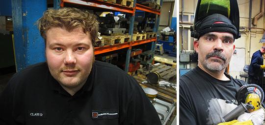 """""""Jag har inga problem med att gå ut i en konflikt, vi tjänar för dåligt"""", säger Anders Karlsson (till höger), svetsare på Linde maskiner i Lindesberg. """"Vi tycker att facket ska sätta ner foten nu"""", säger Claes Davidsson, ordförande i verkstadsklubben på Linde maskiner i Lindesberg.  Foto: HARALD GATU"""