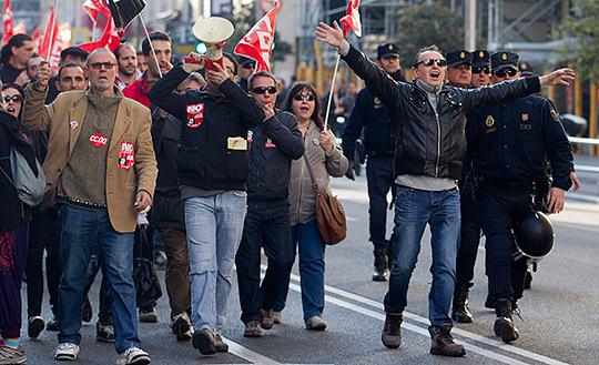 Bilder från Madrid under torsdagsförmiddagen. Foto: PAUL WHITE