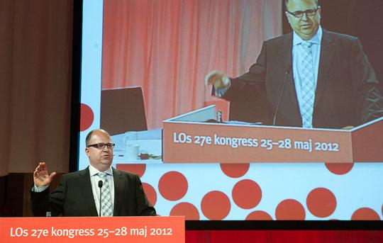 Karl-Petter Thorwaldsson valdes till ny ordförande på LO:s kongress på lördagen. I sitt tal påminde han om 'massarbetslösheten' i Sverige och lovade att LO nu ska arbeta hårt för att få ned de siffrorna.  Foto: MAJA SUSLIN