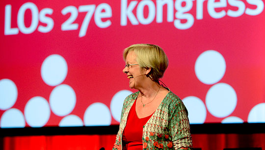 LO:s avgående ordförande Wanja Lundby-Wedin inledningstalar vid öppnandet av kongressen.