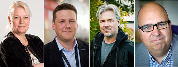 Den nya LO-ledningen, om valberedningen får som den vill.  Från vänster: Ingela Edlund, Tobias Baudin, Torbjörn Johansson och Karl-Petter Thorwaldsson.