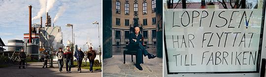 """Från vänster: Stora Enso Norrsundet gick med vinst, men lades ändå ner 2007. (Foto: MATS STRAND) Det var med Bo Berggren i spetsen som """"världens äldsta aktiebolag"""" Stora Kopparberg gick ihop med finska Enso. Huvudkontoret flyttades från Falun till Helsingfors. Och det nya företaget kom att göra många ödesdigra affärer, enligt Stora-kännaren Jan Rennel (Foto: MICKE LINDSTRÖM). Kartongfabriken i Gästrike-Hammarby lades ner 2006. Idag är det loppislokal (Foto: HARALD GATU)."""