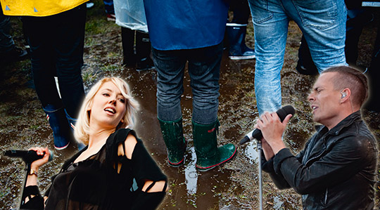 """""""Varför trampa runt i leran?""""  tänker Sanna Gustavsson och gör i ordning en låtlista med nästan alla artister som spelar på årets Peace and Love-festival. Foto: SCANPIX  montage: DA"""