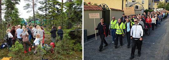 Protester mot planerna på kalkbrytning (bild 1) och demonstdemonstrationståg för jobben på Nordkalk (bild 2). Foto: GREENPEACE/TILLMAN, MIKAEL FÄRNBOO