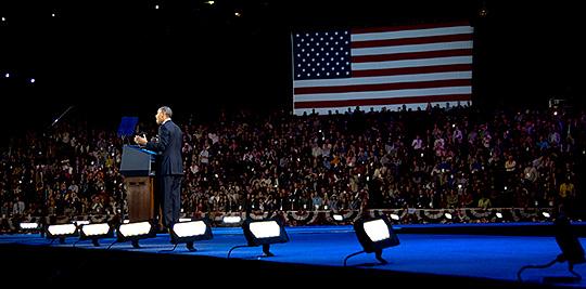 President Barack Obama talade vid valnattsfesten. Foto: SCANPIX