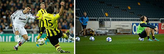 Två av IndustriALL:s drömambassadörer för schysst tillverkade idrottskläder, Christiano Ronaldo och Zlatan Ibrahimović.