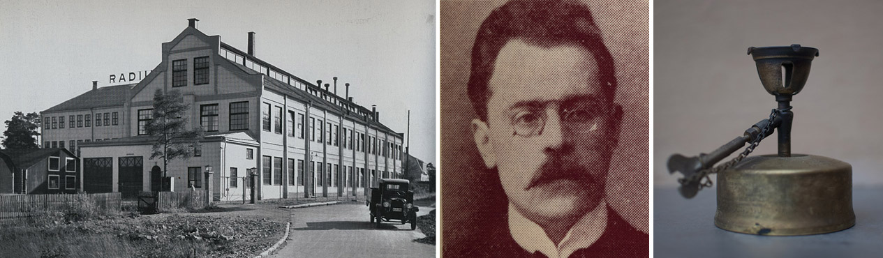 Radius fabriksbyggnad (här från 1930-talet) står kvar än i dag vid Tellusborgsvägen i Midsommarkransen i södra Stockholm. Nu innehåller den bland  annat gym och thai-restaurang.  Bilden i mitten: John Theodor Johansson.Till höger: Så här såg en av modellerna ut av de fotogenkök som  Radius tillverkade.  Foto: ARKIV, NANCY MITCHELL