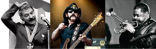 Matiga bitar. Vad har Hans Alfredson gemensamt med Lemmy Kilmister i Motörhead och Dizzy Gillespie? Alla sjunger om hur man kan äta. Foto: TT