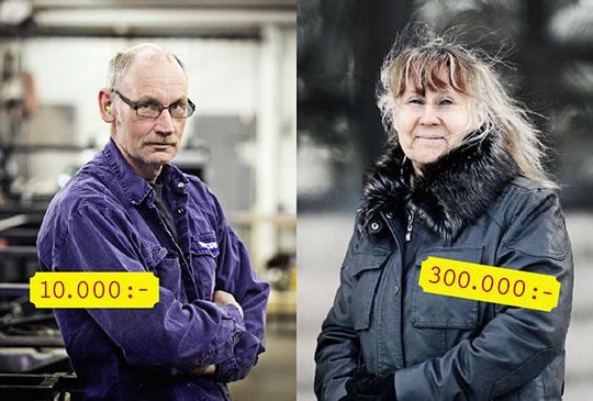 Nit- eller vinstlott vid uppsägning? Det hänger till stor del på vilket företag som säger upp. Lars-Inge Björlin, Vovlo Bussar, och Eva Svedjerot, före detta Ericssonanställd. Foto: ØYVIND LUND och GUN WIGH