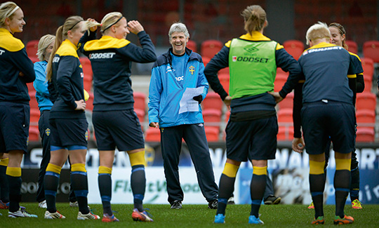 Pia Sundhage tillträdde som förbundskapten för svenska damlandslaget den 1 december 2012. Nu väntar den första stora prövningen – EM på hemmaplan. Foto: JANERIK HENRIKSSON