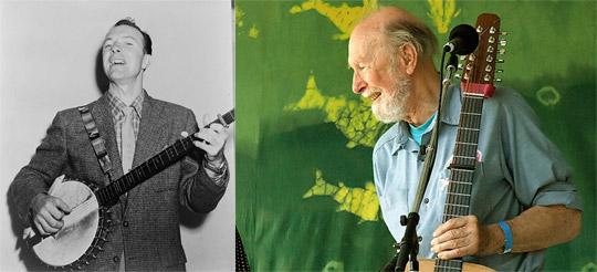 Till höger ett porträtt från 1955. Bilden t.v. visar en 88-årig Peter Seeger från Clearwater festivalen 2007. Foto: Anthony Pepitone