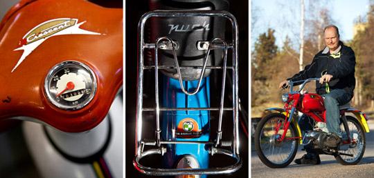 F.v. En Crescent 2013 från 1961, bakdel på Puch Dakota från 1970, första året då modellen lackades blå och Lennarts häftigaste objekt: Puch Motocross från 1965. Foto: TOMAS BERGMAN