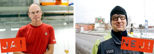 """Esbjörn Öberg (t.v) tror att stödet för SD beror på missnöje. Själv är han rädd för utvecklingen. """"Vi har alla ett ansvar att minnas historien om högerextrema partier."""" Johan Stenberg (t.h) är själv aktiv som moderat fritidspolitiker. Han tycker inte att han har något att vinna på Stefan Löfvens politik. Foto: MALIN GRÖNBORG och Foto: HENRIK WITT"""