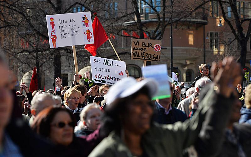 Socialdemokraternas 1 maj-demonstration på Norra bantorget i Stockholm 2013. Foto: TT