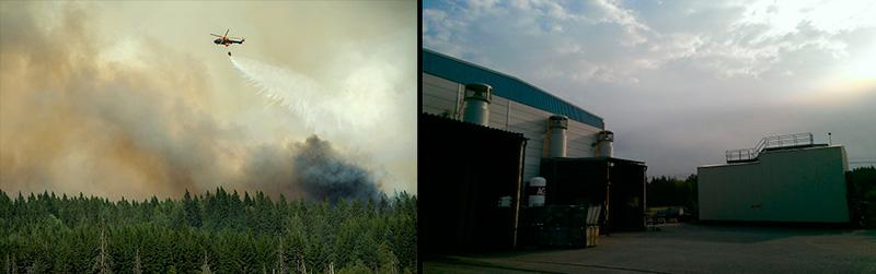 Brandröken ligger tät över Ruukkki och hela industriområdet i Wirsbo. Många av de 600 arbetarna är beredda på att evakueras med kort varsel. Ett av företagen, Uponor, skickade idag hem sina anställda. Foto: FREDRIK SANDBERG/TT och PATRIK STRÖMBERG