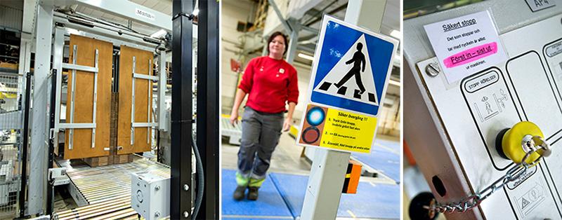 Det vimlar av transportband på Stora Enso i Skene, därför finns det säkra övergångar. Tryck på grön knapp, när ljuset är fast grönt står bandet stilla, återställ med röd knapp. Foto: ANNA SIGGE