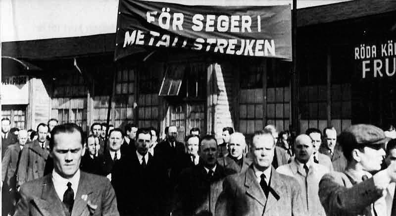 Metallstrejken 1945. Demonstration i Göteborg den 8 april med över 8000 deltagare.